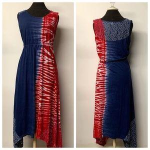 Live & Let Live Red White Blue Tie Dye Maxi Dress